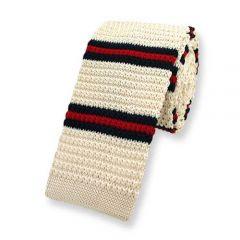 gestrickte Krawatte beige gestreift