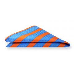 Einstecktuch hellblau orange gestreift