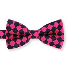 Fliege neon pink schwarz kariert