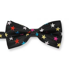 schwarze Herrenfliege mit farbigen Sternen