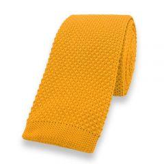 gestrickte Krawatte ockergelb einfarbig