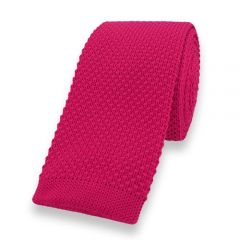 gestrickte Krawatte neon rosa einfarbig