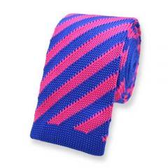 gestrickte Krawatte rosa blau gestreift