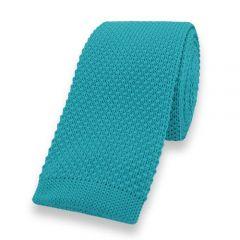 gestrickte Krawatte türkis einfarbig