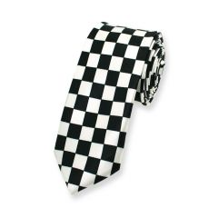 Krawatte kariert schwarz weiß schmal