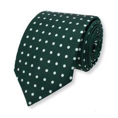 Krawatte Dunkelgrün weiß gepunktet