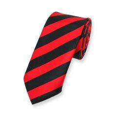Krawatte gestreift rot schwarz schmal
