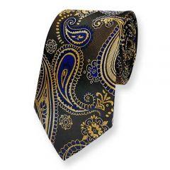 Krawatte gold dunkelblau Paisley