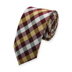Krawatte dunkelrot gold kariert