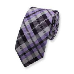 Krawatte kariert lila grau