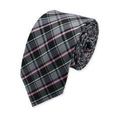 karierte Krawatte grau rosa