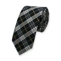 Krawatte Schwarz Weiß Gold Kariert