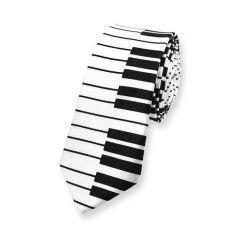 Klavier Krawatte weiß schwarz schmal