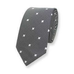 Krawatte schwarz weiß kariert schmal