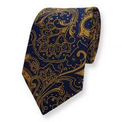 Krawatte marineblau ockergelb Blumen