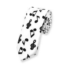 weiße Krawatte mit schwarze Notenzeichen