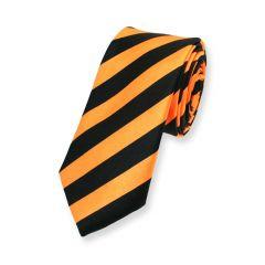 Krawatte gestreift schwarz orange schmal