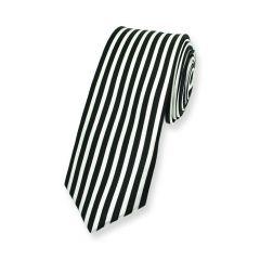 Krawatte vertikal gestreift schwarz weiß schmal