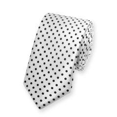 Krawatte gepunktet weiß schwarz schmal