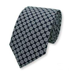 Krawatte dunkelblau weiß Blumen