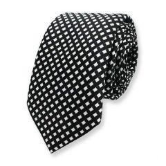 Krawatte kariert schwarz weiß Seide