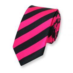 Krawatte gestreift neon rosa schwarz schmal